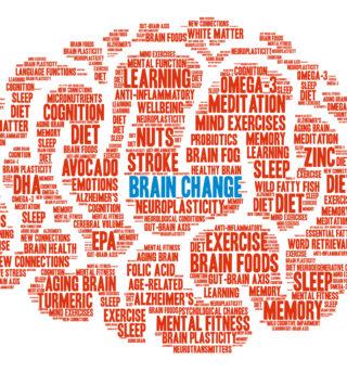 Nuage de mots rouges dont un au milieu écrit en bleu brain change